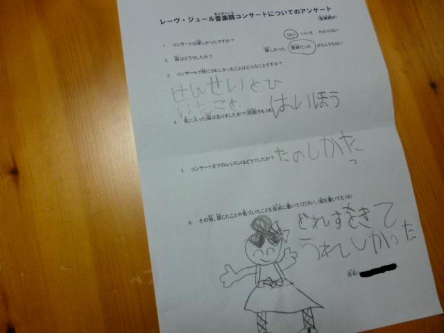 ピアノコンサート 生徒アンケート1